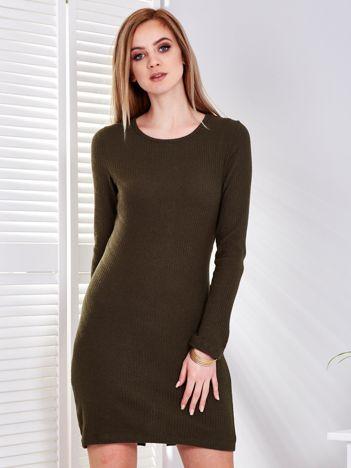 Sukienka khaki w prążek z wycięciem z tyłu