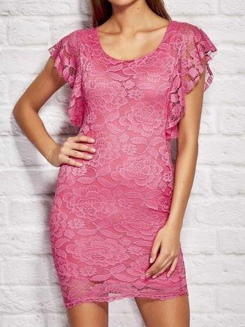 Sukienka koktajlowa koronkowa różowa