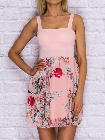 Sukienka koktajlowa z kwiatową spódnicą różowa