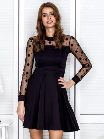Sukienka koktajlowa z siateczkową górą czarna