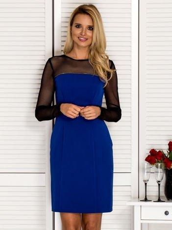 Sukienka koktajlowa z siateczkową górą kobaltowa