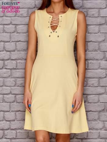 Sukienka lace up żółta