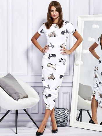 Sukienka maxi z nadrukiem skuterów biała