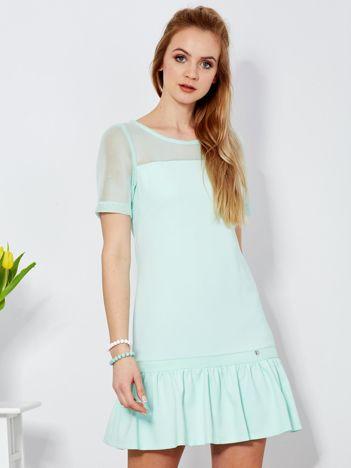 Sukienka miętowa z siatkowymi rękawami