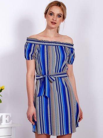 Sukienka niebieska z odkrytymi ramionami w paski