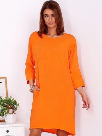 Sukienka oversize z domieszką bawełny fluopomarańczowa