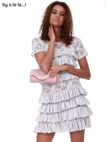 Sukienka szara koronkowa z falbanami BY O LA LA