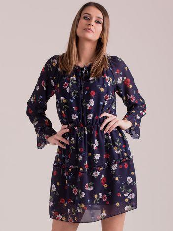 Sukienka w kwiaty granatowa