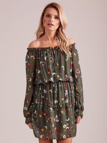 Sukienka w kwiaty khaki