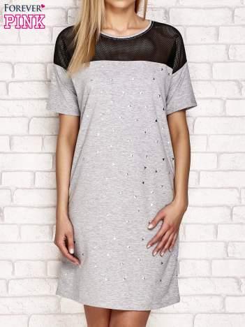 Sukienka z dżetami jasnoszara