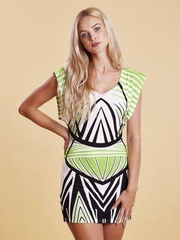 Sukienka z nadrukiem i wycięciem na plecach zielona