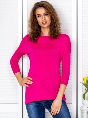 Sweter damski ciemnoróżowy z szerokim ściągaczem przy dekolcie