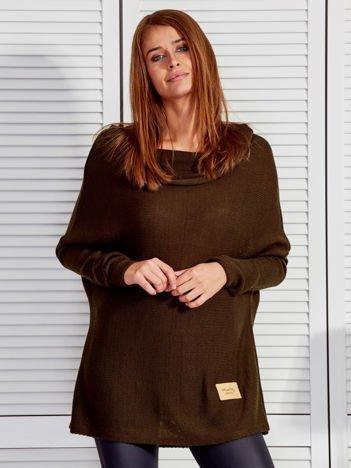 Sweter damski o luźnym kroju khaki