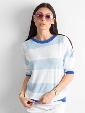 Sweter damski w paski niebieski