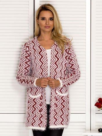 Sweter damski w zygzaki bordowy