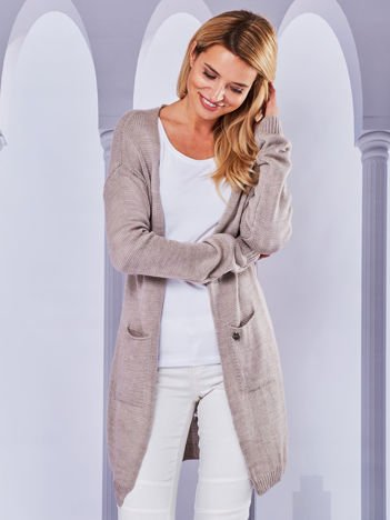 Sweter kardigan bez zapięcia z ażurowym tyłem beżowy