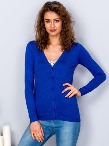 Sweter kobaltowy na guziki