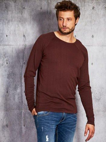 Sweter męski z długim rękawem brązowy