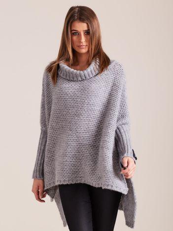 Sweter oversize z golfem szary MAGPIE