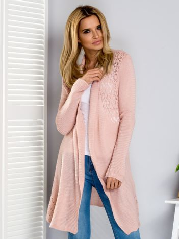 Sweter różowy z ażurowym tyłem