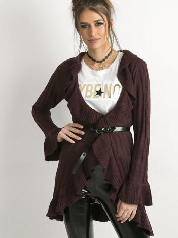 Sweter z falbanami fioletowy