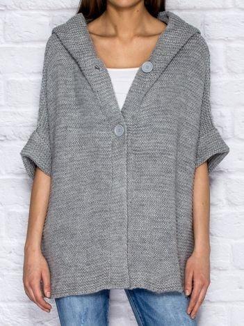 Sweter z kapturem i guzikami szary