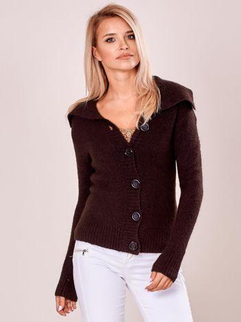 Sweter z kołnierzem damski ciemnobrązowy