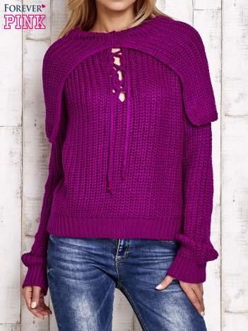 Sweter z wiązaniem i szerokim kołnierzem fioletowy