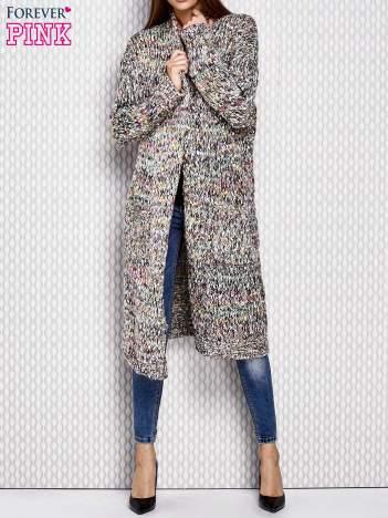 Sweter z wielokolorowym splotem zielony