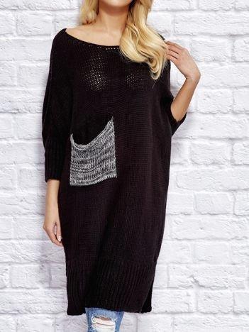 Sweter z wycięciem i wstążką czarny