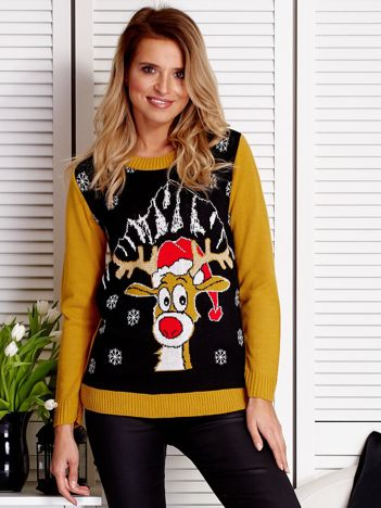 Świąteczny sweter damski z reniferem czarny