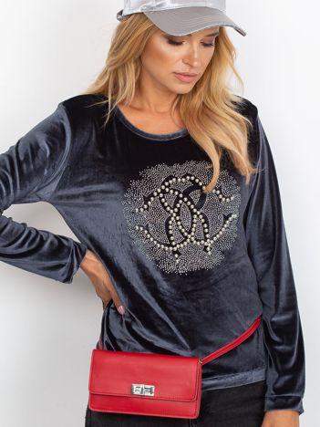 Szara aksamitna bluza damska z aplikacją
