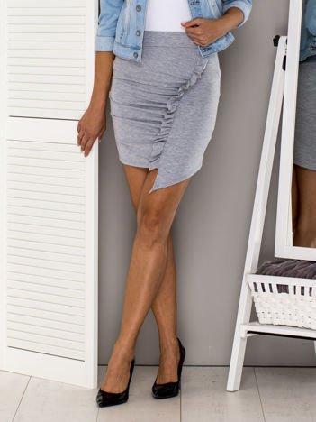 Szara asymetryczna spódnica z falbaną
