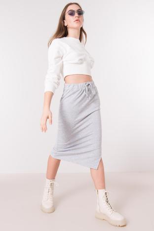 Szara bawełniana spódnica dresowa midi BSL
