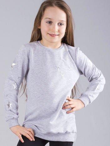 Szara bluza dziecięca w gwiazdki