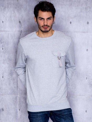 Szara bluza męska z kieszenią