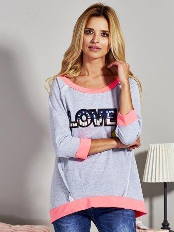 Szara bluza z cekinowym napisem LOVE i kokardami z tyłu