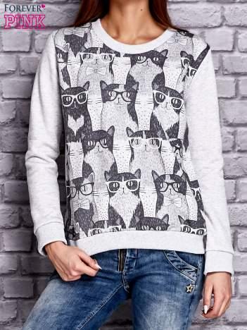 Szara bluza z motywem kotów