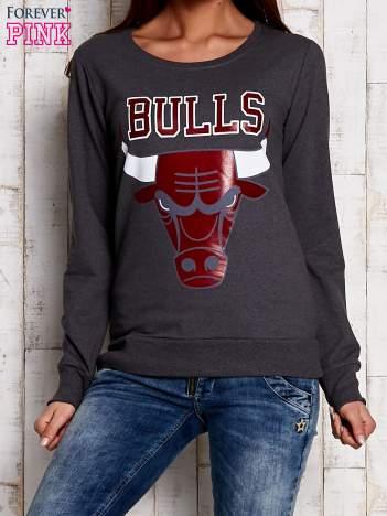 Szara bluza z napisem BULLS