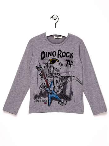 Szara bluzka chłopięca z dinozaurem