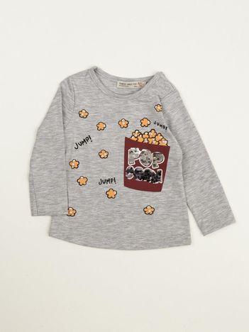 Szara bluzka dla dziewczynki z cekinami i perełkami