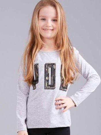 Szara bluzka dziewczęca z aplikacją