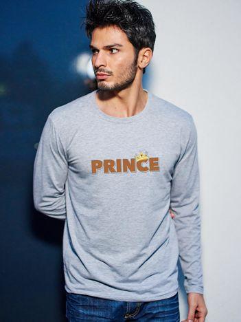 Szara bluzka męska dla par z długim rękawem PRINCE