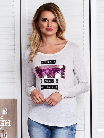 Szara bluzka z dwustronnym cekinowym napisem