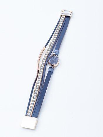 Szara bransoletka na magnez ze zdobieniami