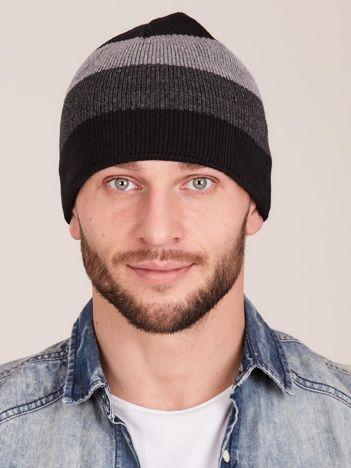 Szara czapka męska w paski