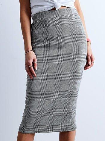 Szara długa spódnica ołówkowa w kratę