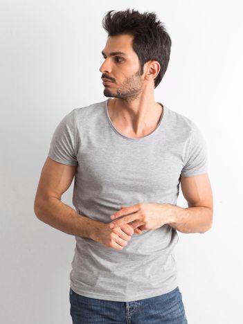 Szara gładka koszulka męska
