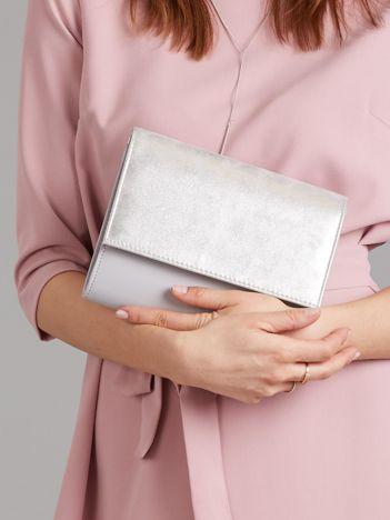Szara kopertówka z brokatową klapką