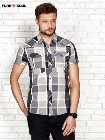 Szara koszula męska w kratkę FUNK N SOUL